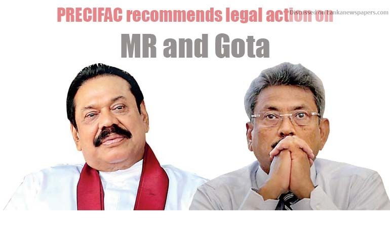 Sri Lanka News for PRECIFAC recommends legal action on MR and Gota