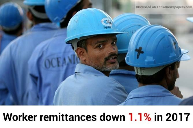 Sri Lanka News for Worker remittances down 1.1% in 2017