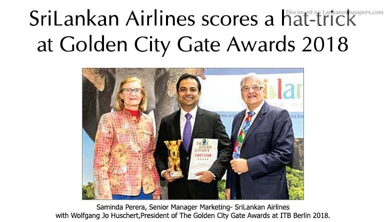 Sri Lanka News for SriLankan Airlines scores a hat-trick at Golden City Gate Awards 2018