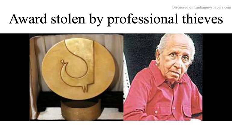 Sri Lanka News for Lester's award stolen by professional thieves
