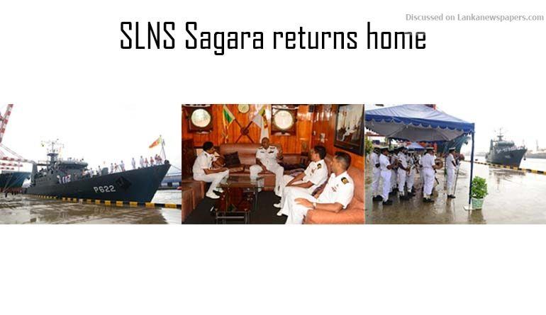 Sri Lanka News for SLNS Sagara returns home on completion of successful naval exercise