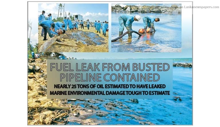Sri Lanka News for Fuel leak from busted pipeline contained